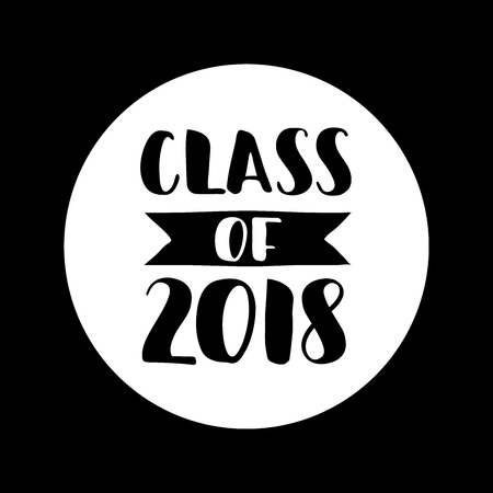 Class of 2018, hand drawn brush lettering graduation icon. Template for graduation design, party.
