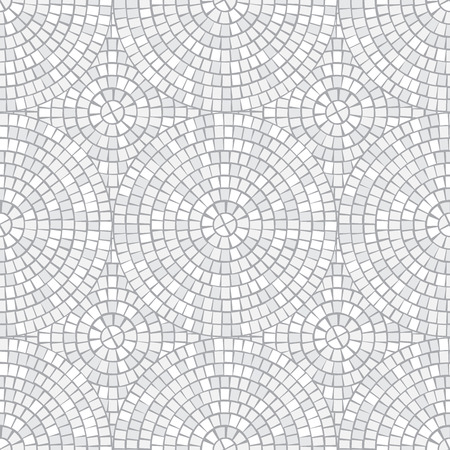 Abstract mosaic seamless pattern. Fragments of a circle laid out from a mosaic tiles trencadis. Neutral light Vector background for design and decorate backdrop. Ceramic tile fragments endless texture