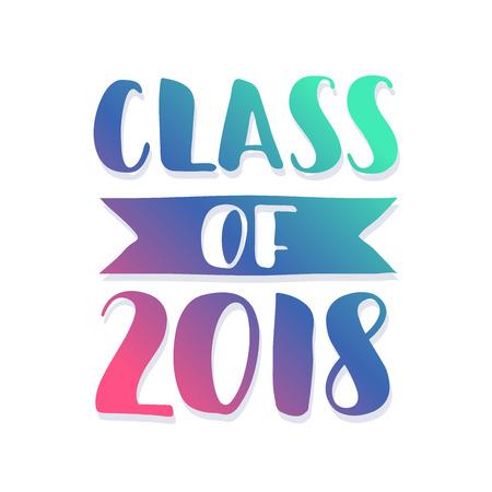 Class of 2018. Hand drawn brush lettering Graduation logo. Template for graduation design, party. Ultraviolet Vector illustration. Illusztráció