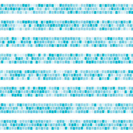 Blue abstract mosaic horizontal striped seamless pattern. Ceramic tile fragments endless texture Vector background
