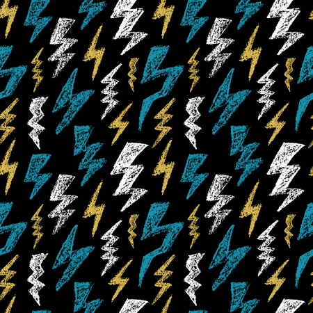 Hand drawn Lightning bolt seamless pattern. Blue yellow, white and black color. Fashion design texture for men textile. Vector illustration. Sketch style