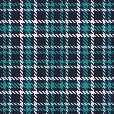 Green Blue tartan seamless vector pattern. Checkered plaid texture. Geometrical simple square background for fabric, textile, cloth, clothing, shirts, shorts, dress, blanket, wrapping design Standard-Bild - 98716802