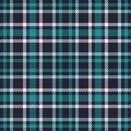 Nahtloses Vektormuster des grün-blauen Schottenstoffs. Karierte Plaidbeschaffenheit. Geometrischer einfacher quadratischer Hintergrund für Gewebe, Gewebe, Stoff, Kleidung, Hemden, kurze Hosen, Kleid, Decke, Design einwickelnd