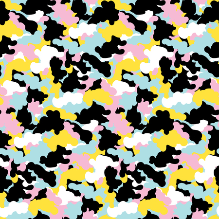 Colorful abstract camouflage seamless pattern background. Modern memphis military style camo art design backdrop. Vector illustration.  Stock Illustratie