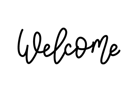 Welcome -  Hand Lettering word. Handwritten modern  typography sign. Illustration