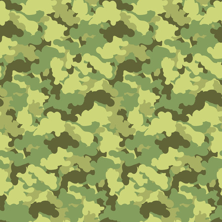 Green color abstract camouflage seamless pattern Vector background. Modern military style camo art design backdrop. Ilustração