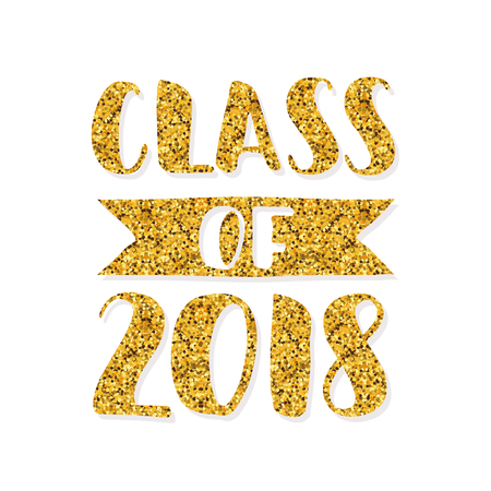Class of 2018. Hand drawn brush lettering Graduation logo. Template for graduation design, party, high school or college graduate, yearbook. Modern calligraphy. Vector illustration. Archivio Fotografico - 99222043