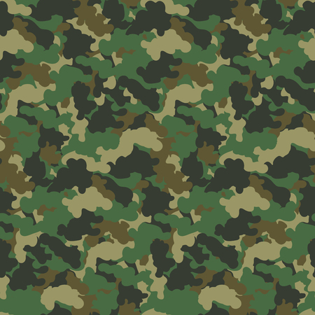 Green color abstract camouflage seamless pattern Vector background. Modern military style camo art design backdrop. Vettoriali