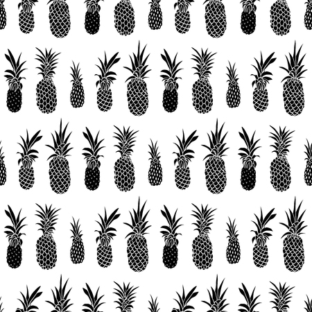 Pineapple hand drawn seamless pattern. Doodle fruit background. Summer tropical design for fabric, wallpaper, packaging, vacation textile print. Vector illustration