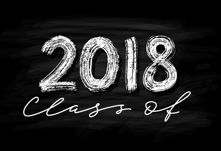 Class of 2018. Hand drawn brush lettering Graduation logo Template for graduation design, party. Chalk effect Vector illustration.
