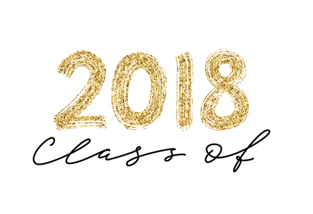 Class of 2018. Hand drawn brush lettering Graduation logo. Modern calligraphy. Vector illustration. Illusztráció