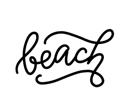 Beach text. Only one single word. Printable graphic tee. Design for print. Mono line calligraphy style. 向量圖像