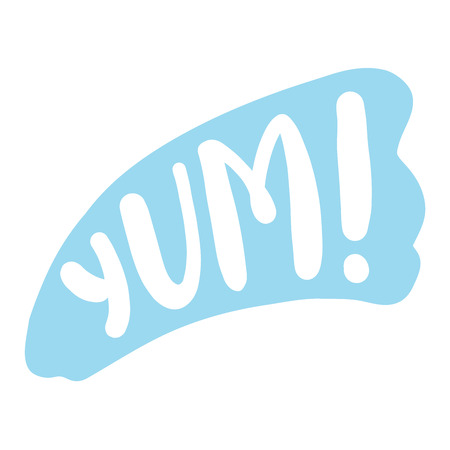 Yum text. Only one single word. Printable graphic tee. Design doodle for print. Vector Colorful Cartoon style. Foto de archivo - 100637026