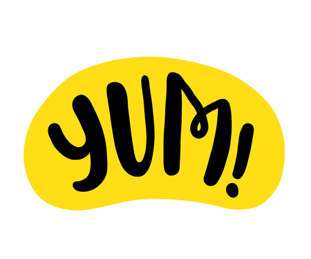 Yum text. Only one single word. Printable graphic tee. Design doodle for print. Vector Colorful Cartoon style. Illustration