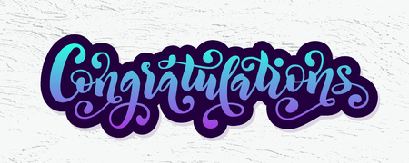 Congratulations hand lettering quote. Hand drawn modern brush calligraphy congrats word. Vector text illustration. Banco de Imagens - 101046849