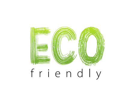 Eco friendly. Text lettering. Modern brush calligraphy. Vector Organic Green Design for print product packaging