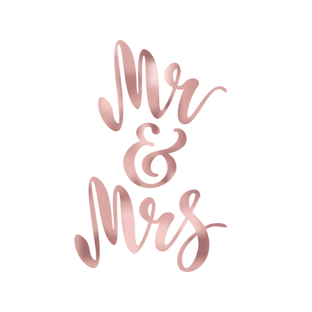 Mr and Mrs. Brush pen lettering. Wedding words. Bride and groom. Rose Gold foil effect. Vector illustration. Archivio Fotografico - 101210511