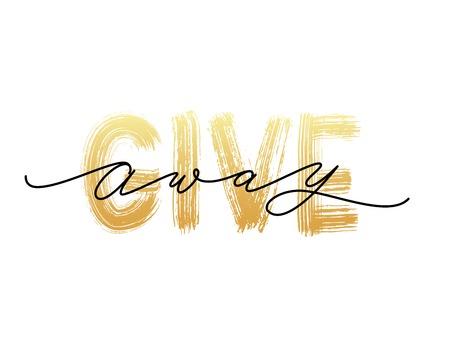 Giveaway-tekst op een witte achtergrond. Vector illustratie Moderne kalligrafie. Belettering woord banner sociale media bloggers Vector Illustratie