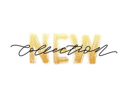 New collection gold text on white background.. Modern brush calligraphy. Vector illustration. Hand drawn lettering word. Archivio Fotografico - 102133967