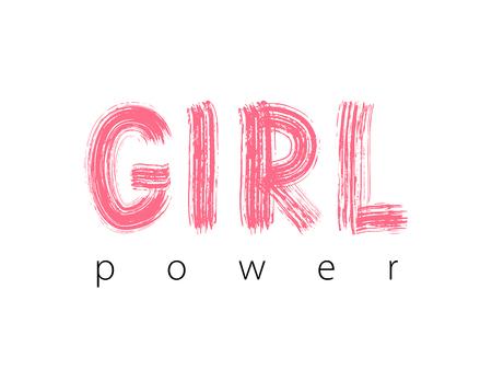 Girl Power. Hand Lettering. Cute sweet design for print woman shirt, card, sticker, banner, poster. Feminism slogan.