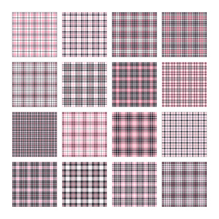 Set of 16 tartan seamless vector patterns. Checkered plaid texture. Geometrical square background for fabric Ilustração