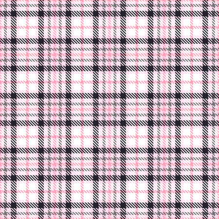 Pink tartan seamless vector patterns. Checkered plaid texture. Geometrical square background for fabric