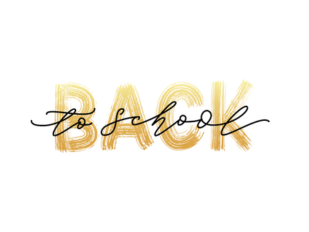 Welcome Back to School Text. Hand drawn brush lettering. Template for design, party, high school or college start study day, yearbook. Modern calligraphy. Vector illustration.