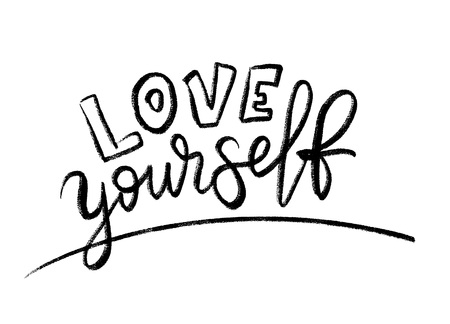 Love yourself quote. Single word. Modern calligraphy text. Design print for t shirt, pin label, badges, sticker, greeting card, banner. Vector illustration black and white. ego