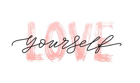 Ámate a ti mismo cita. Una sola palabra. Texto de caligrafía moderna. Diseño de impresión para camiseta, etiqueta de pin, insignias, pegatina, tarjeta de felicitación, banner. Ilustración de vector blanco y negro. ego