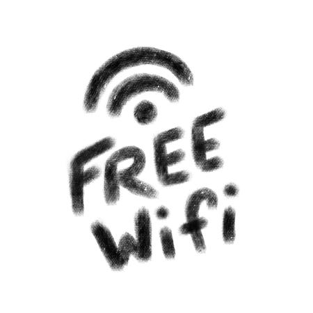 Free wifi icon. Black hand drawn text on white background.