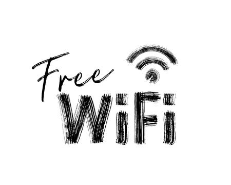 Free internet icon. Black hand drawn text on white background. Vector illustration. Stock Photo