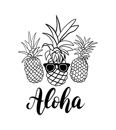 Vector set of five pineapple fruit. Tropical summer vacation collection. Design for print. Black and white illustration
