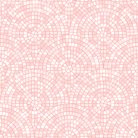 Light pastel pink abstract mosaic seamless pattern. Vector background. For design and decorate backdrop. Endless texture. Ceramic tile fragments. Broken tiles trencadis. Neutral light background Archivio Fotografico - 111830237