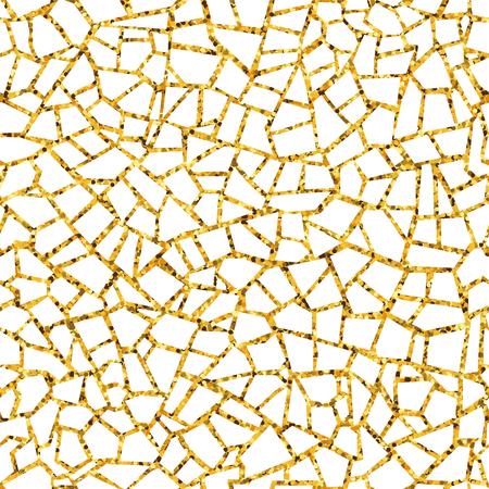 Nahtloses Muster des goldenen abstrakten Mosaiks. Vektor goldener Hintergrund. Zum Gestalten und Dekorieren von Kulissen. Endlose Textur. Fragmente von Keramikfliesen. Zerbrochene Fliesen Trencadis. Neutraler heller Hintergrund Vektorgrafik
