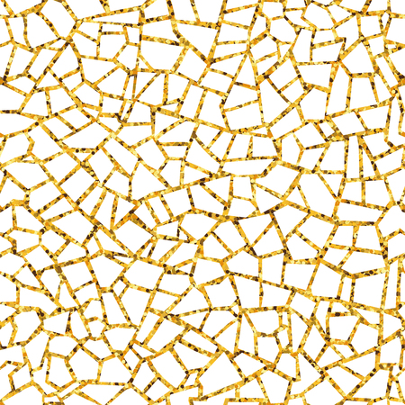 Gold abstract mosaic seamless pattern. Vector golden background. For design and decorate backdrop. Endless texture. Ceramic tile fragments. Broken tiles trencadis. Neutral light background