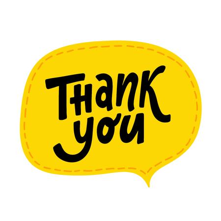 Merci. Mot de lettrage à la main. Signe de typographie moderne dessiné à la main. Salutations pour le logo de l'icône, les cartes d'insigne, la bannière d'affiche, l'étiquette. Illustration vectorielle