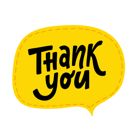 Thank you. Hand Lettering word. Hand drawn modern typography sign. Black and white. Vector illustration