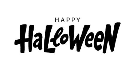 Happy Halloween text logo. Vector illustration. Black lettering on white background