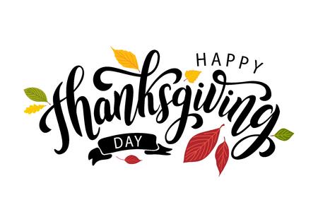 Felice giorno del ringraziamento con foglie d'autunno. Lettering testo disegnato a mano. Illustrazione vettoriale. Script. Design calligrafico per la stampa di biglietti di auguri, magliette, striscioni, poster. Autunno colorato Vettoriali