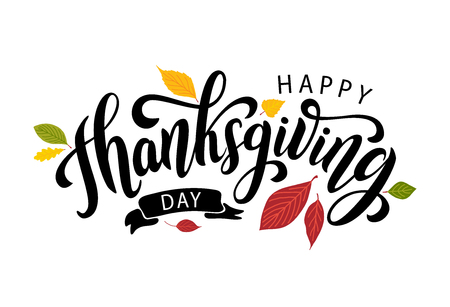Happy thanksgiving day with autumn leaves. Hand drawn text lettering. Vector illustration. Script. Calligraphic design for print greetings card, shirt, banner, poster. Colorful fall Stock Vector - 107202762