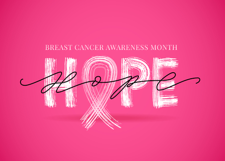 Hope word with pink ribbon symbol. Breast cancer awareness month. Vector illustration.