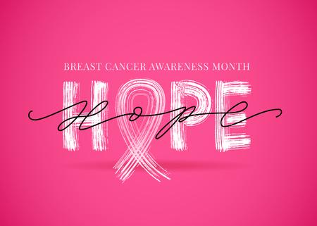 Mam nadzieję, że słowo symbolem różowej wstążki. Miesiąc świadomości raka piersi. Ilustracja wektorowa. Ilustracje wektorowe
