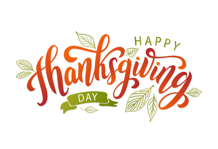 Happy thanksgiving. Hand drawn text Lettering card. Vector illustration. Çizim