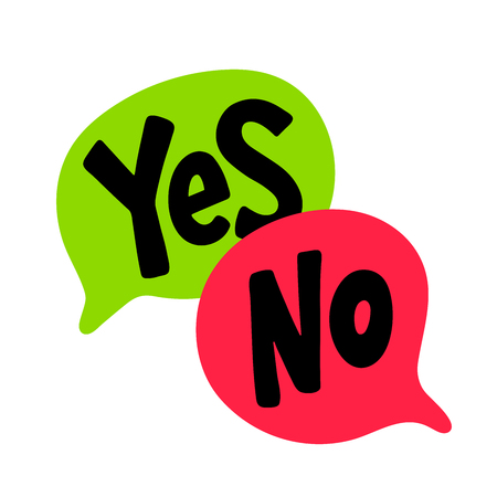 Yes No word text on talk shape. Black, green and red color. Vector illustration speech bubble on white background. Design element for badge, sticker, mark, symbol, icon and card chat. Test question Stock Illustratie