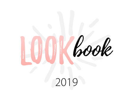 Lookbook text logo. Vector illustration isolated on white background. 2019