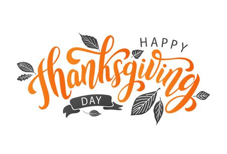 Felice giorno del ringraziamento con foglie d'autunno. Lettering testo disegnato a mano. Illustrazione vettoriale. Script. Design calligrafico per la stampa di biglietti di auguri, magliette, striscioni, poster. Autunno colorato