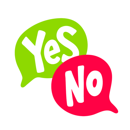 Yes No word text on talk shape. Green and red color. Vector illustration speech bubble on white background. Design element for badge, sticker, mark, symbol, icon and card chat. Test question Ilustração
