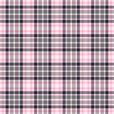 Pink tartan seamless vector patterns. Checkered plaid texture. Pink and gray. Geometrical simple square background for fabric textile cloth, clothing, shirts shorts dress blanket, wrapping design Illusztráció