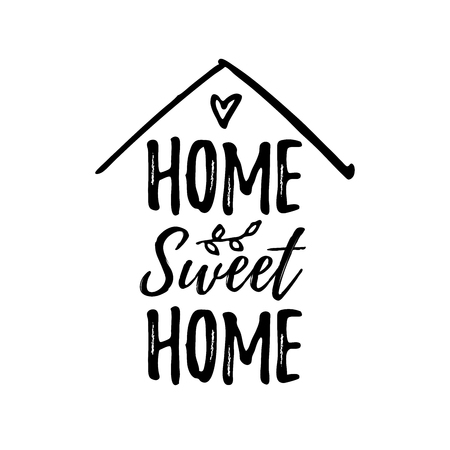 Home sweet home. Typography cozy design for print to poster, t shirt, banner, card, textile. Calligraphic quote Vector illustration. Black text on white background. House shape Imagens - 110266417