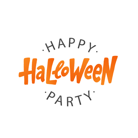 Happy Halloween party text logo. Design element for poster, banner, greeting card, party invitation. Vector illustration. Orange red lettering on white background